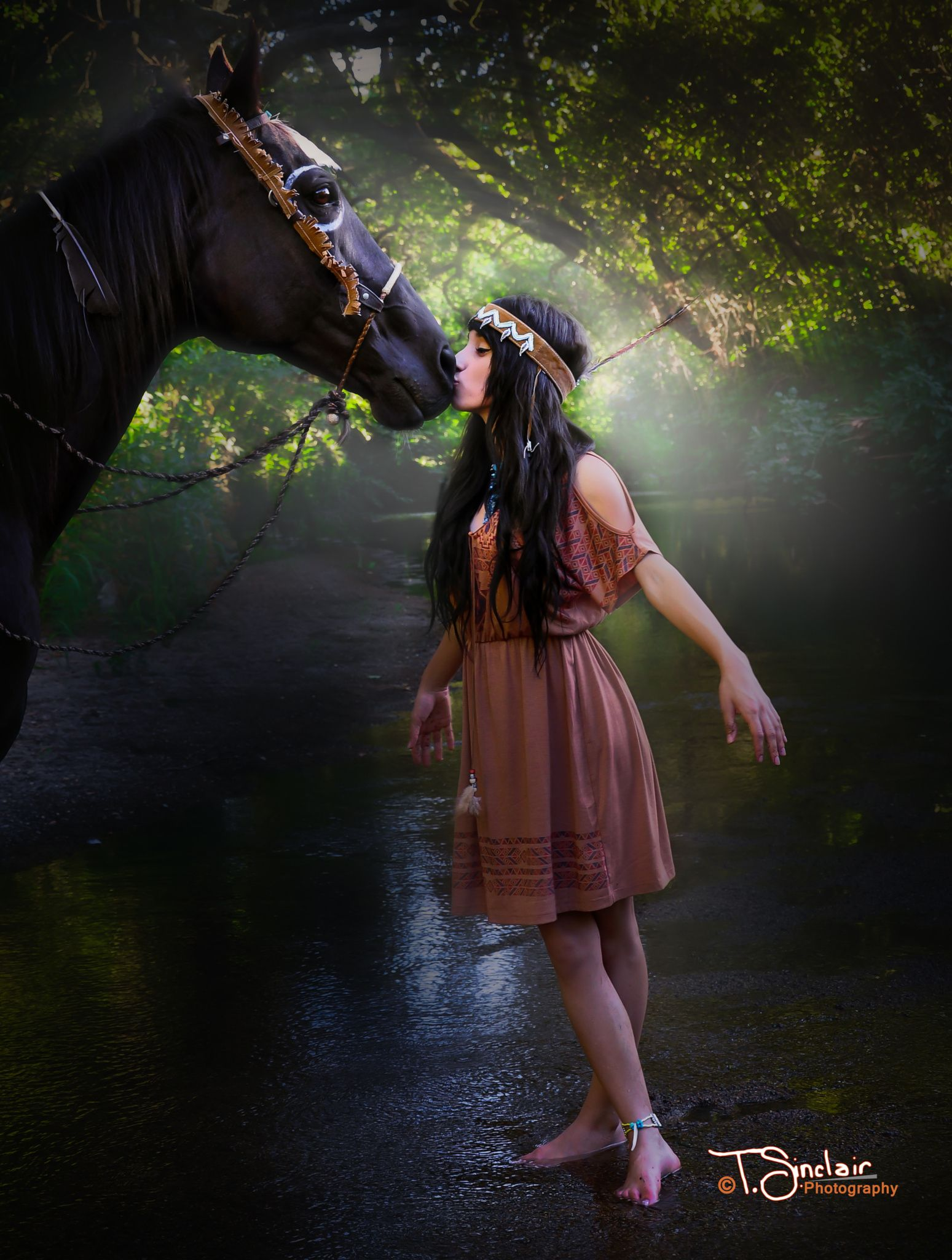 The Kiss Native American Girl Standing In A Creek Kissing Her