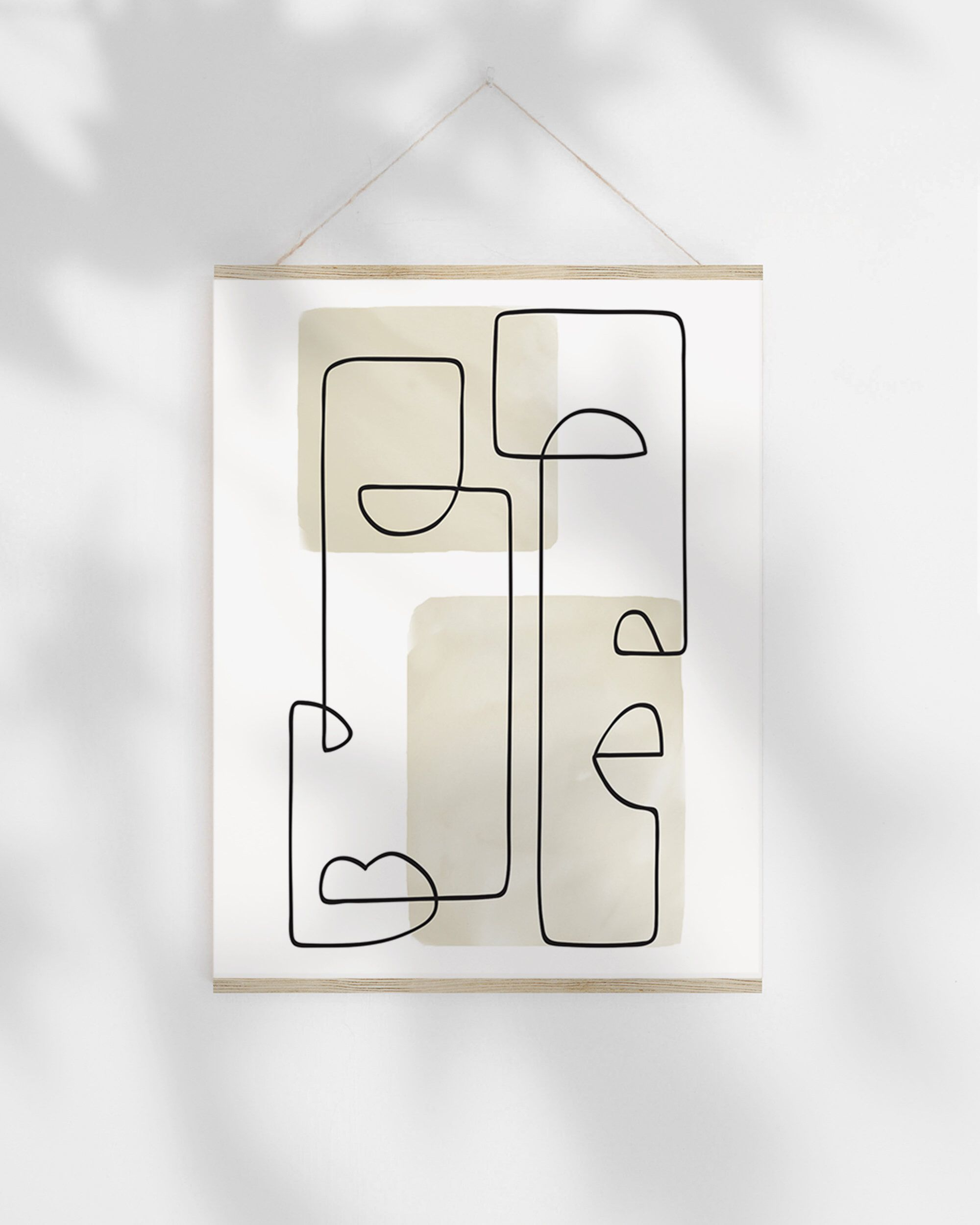 Bedroom Drawing: Abstract Face Art Printable, Line Drawing Art Geometric