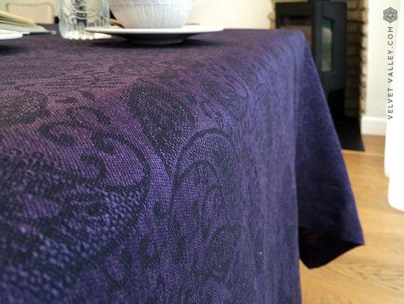 Natural linen dark purple floral linen tablecloth Luxurious