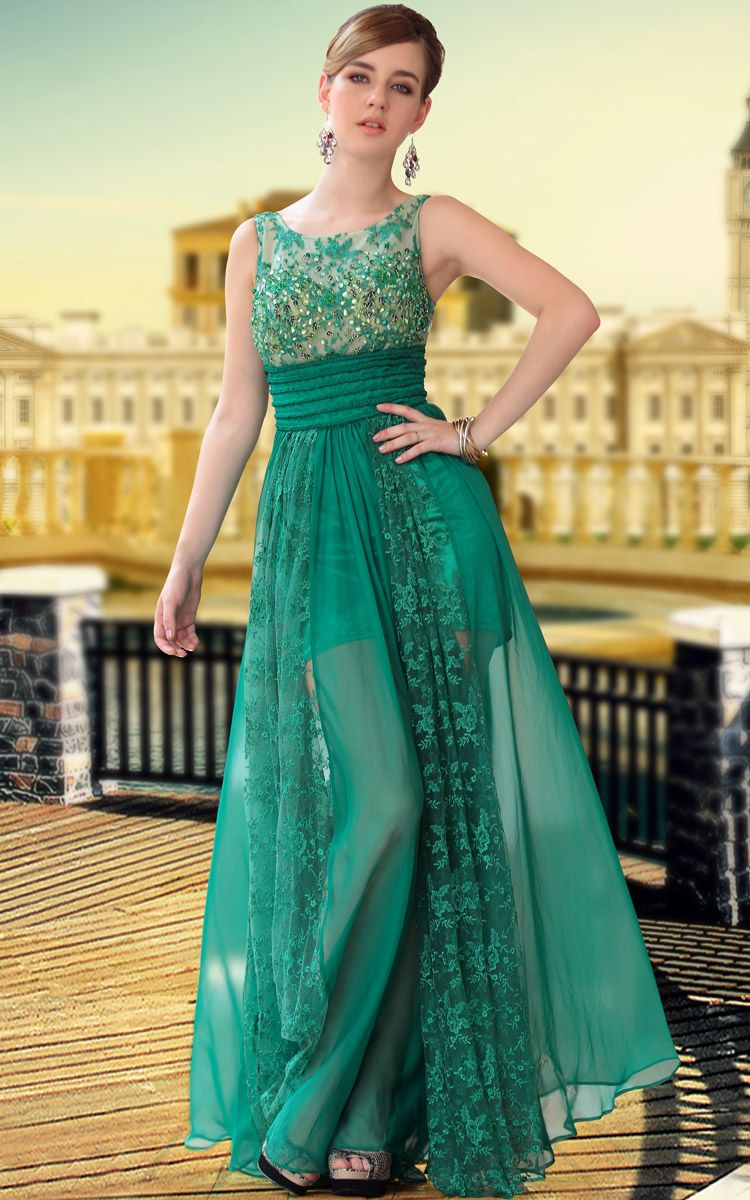 Green Transparent Wear Beaded Party Prom Ball Gown Evening Dress ...