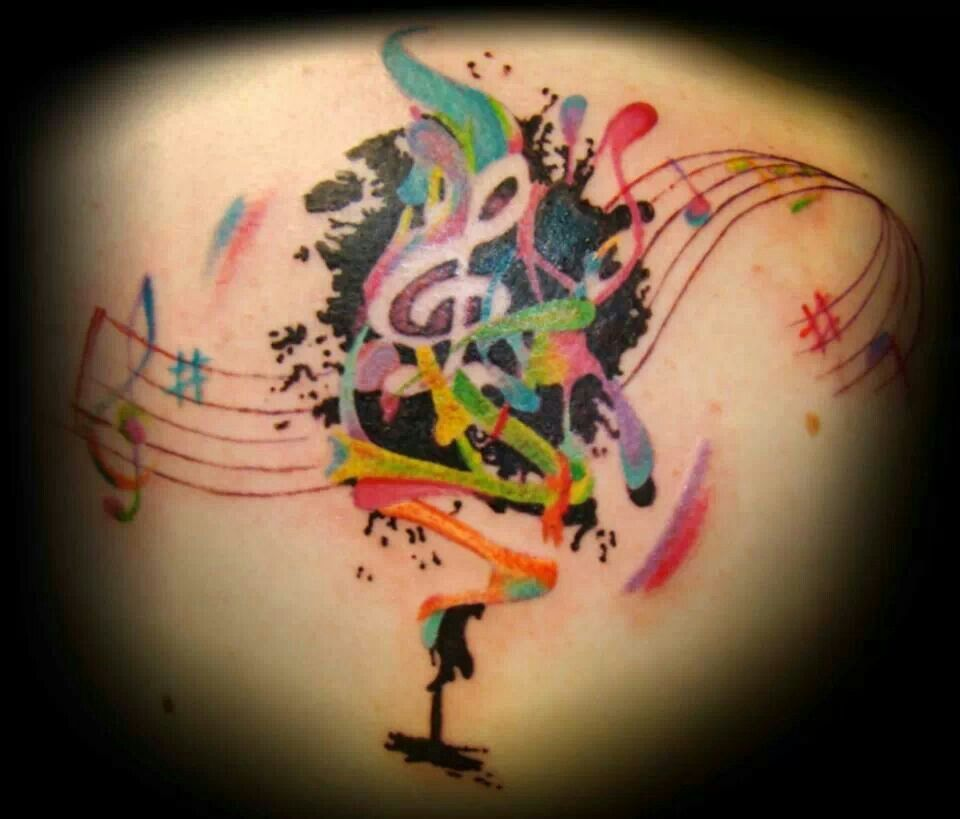 Abstract Watercolor Music Tattoo Music Notes Tattoo Music