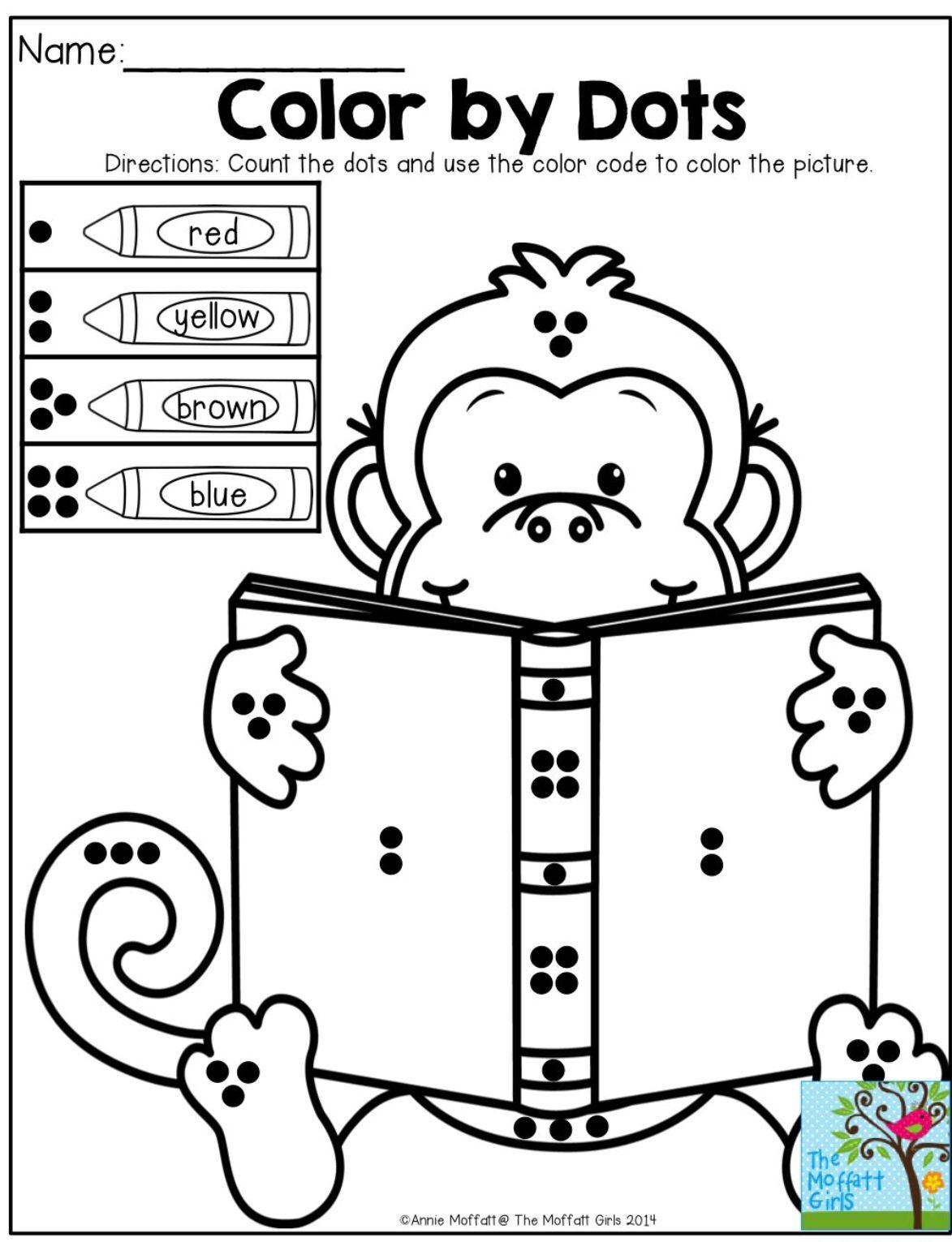 Monkey color by dotes | Sept Class ideas | Pinterest
