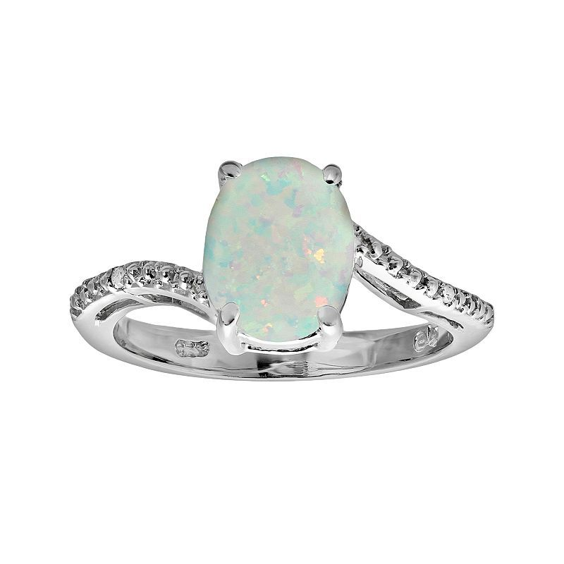 Sterling Silver Lab-Created Opal and Diamond Accent Oval Ring, Women's, Size: 9, White