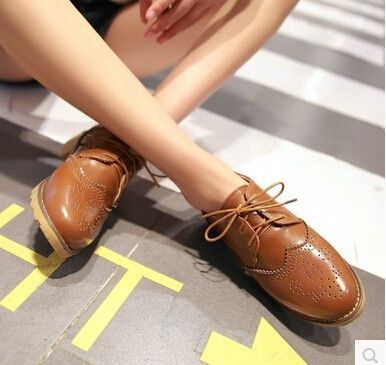 Women new fashion spring summer lacing round toe 3cm low heels solid color shoes large plus size 40-43