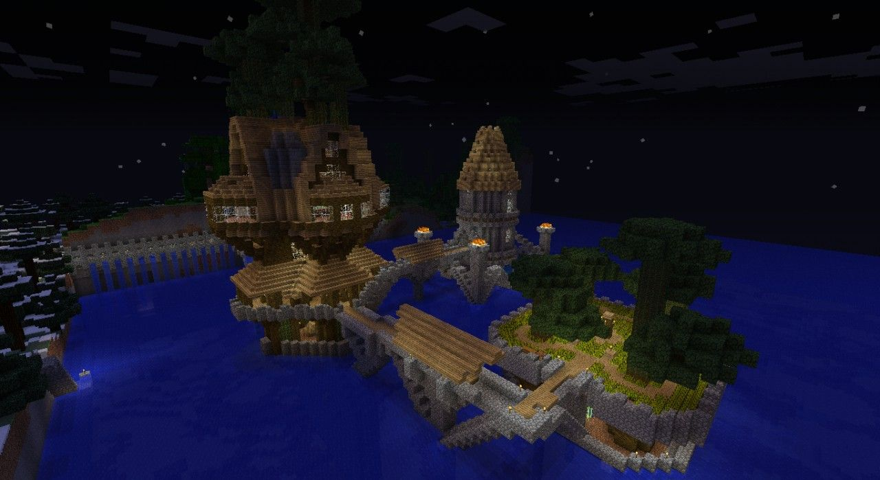 Survival tree house Minecraft Map | Tree house, Water ...
