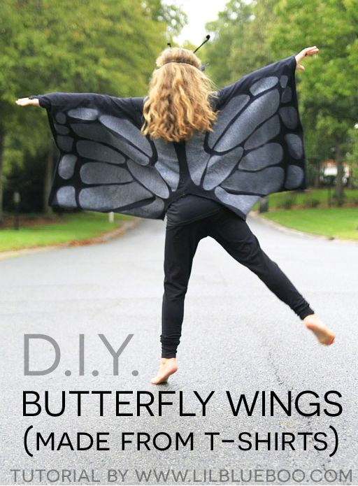 how to make butterfly wings for kids costume using 2 large t shirts halloween - Homemade Halloween Shirts