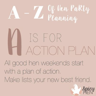 A is for Action plan All good hen weekends start with a plan of - action plan
