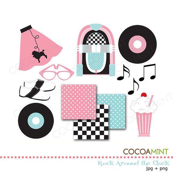 rock around the clock clip art clip art socks and sock hop party rh pinterest com sock hop clip art free 50s Clip Art