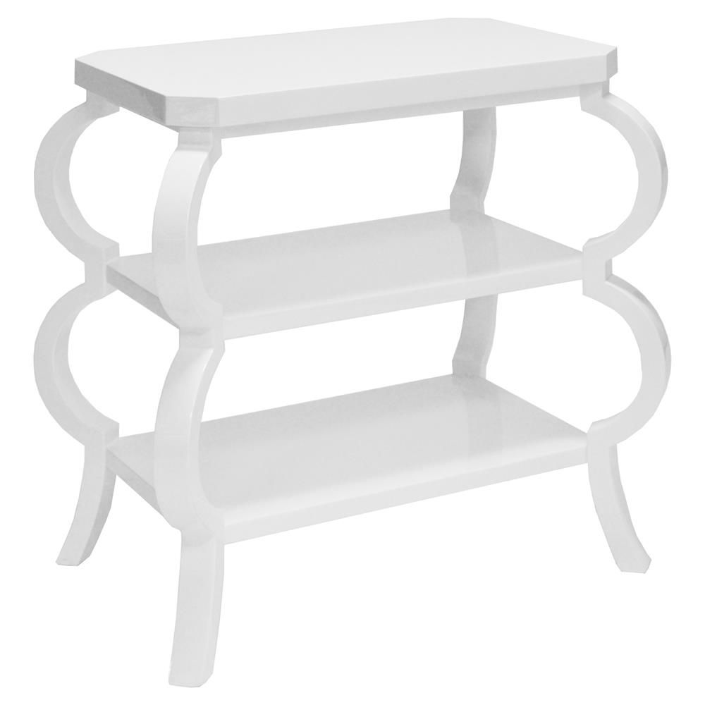 Jaxon French Country White Lacquer Curved Side End Table White