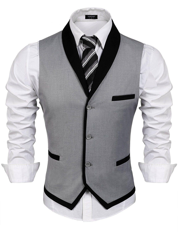 Coofandy Men S V Neck Sleeveless Slim Fit Vest Jacket Business Suit Dress Vest Grey Small At Amazon Me Mens Dress Vests Fashion Suits For Men Mens Suit Vest [ 1500 x 1154 Pixel ]