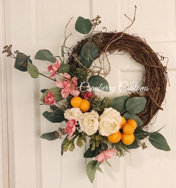 Photo of Orange wreath. Citrus wreath. Modern wreath. Wreath with oranges. Premium modern wreath. Wreath for