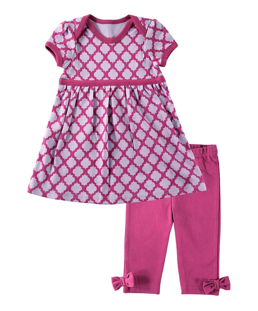 Look at this Hudson Baby Lavender & Magenta Quatrefoil Lap Dress & Pants on #zulily today!