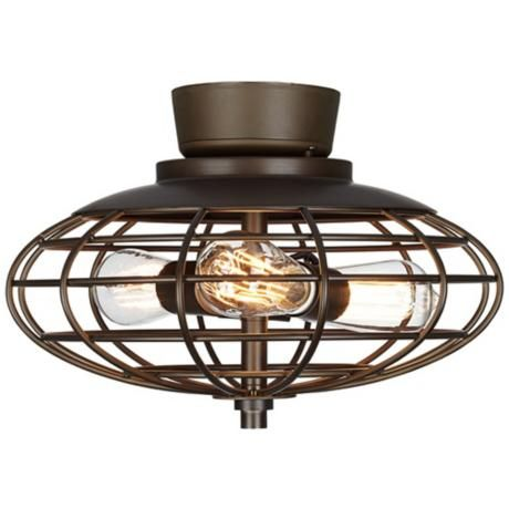 oil rubbed bronze industrial cage 3-60 watt ceiling fan light kit