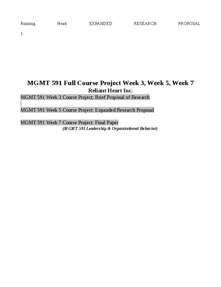 mgmt 591 leadership and organizational behavior course project outline Mgmt 591 week 7 course project  mgmt 591 leadership & organizational behavior  part 1 week 4 project outline, part 2 week 7 mgmt 591.