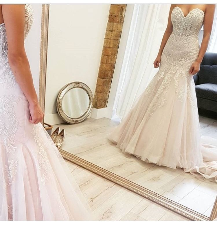 Stella york 6541 fit in flare beaded sweetheart fall for Antique inspired wedding dresses
