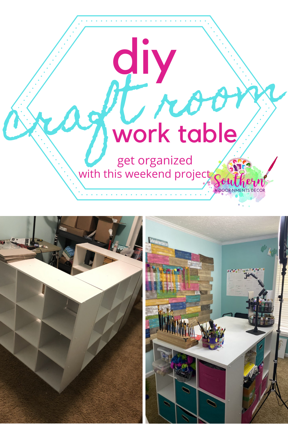 Diy Desk Island For Your Craft Room Southern Adoornments Decor Craft Tables With Storage Craft Table Diy Diy Crafts Desk