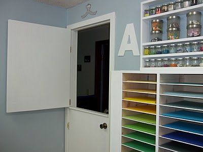 A tour of Amy's craft room makeover...great half door idea and more!