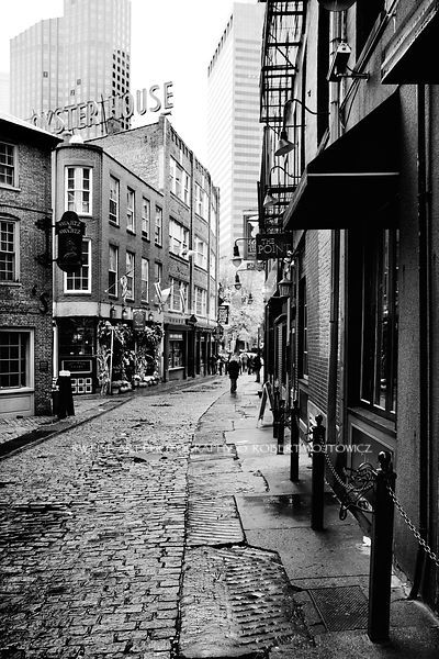 Cobble stone street oyster house boston black and white fine art prints framed canvas