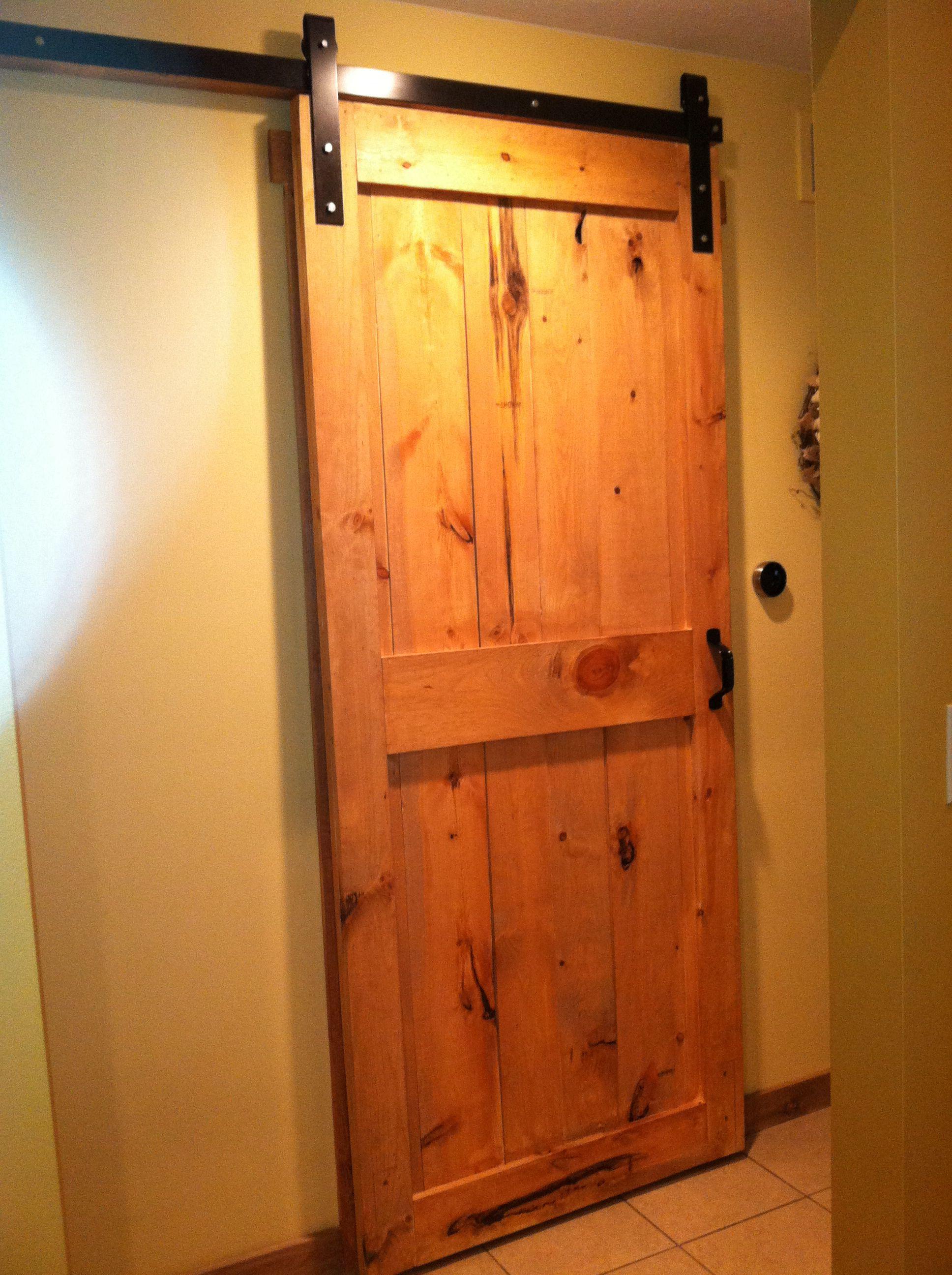 Diy Barn Door Even Made The Hardware Whole Project Under 150 Exterior Barn Door Hardware Wood Exterior Door Exterior Barn Doors