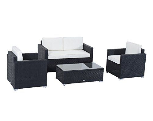 Black 4 Seater Rattan Garden Sofa Set - Made From Durable Fully