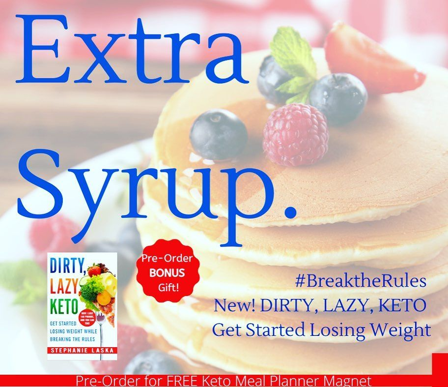 "Stephanie Laska on Instagram: ""Am I the only one that secretly licks the plate? I ❤️ my #sugar-free syrup on #lowcarb pancakes! #breaktherules #dirtylazyketo"""