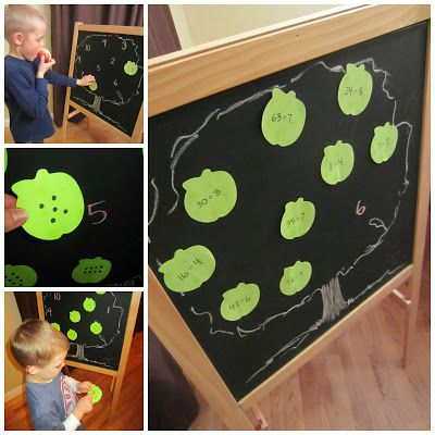 Relentlessly Fun, Deceptively Educational: Apple Tree Matching (Letters, Numbers, Division) for #Preschool