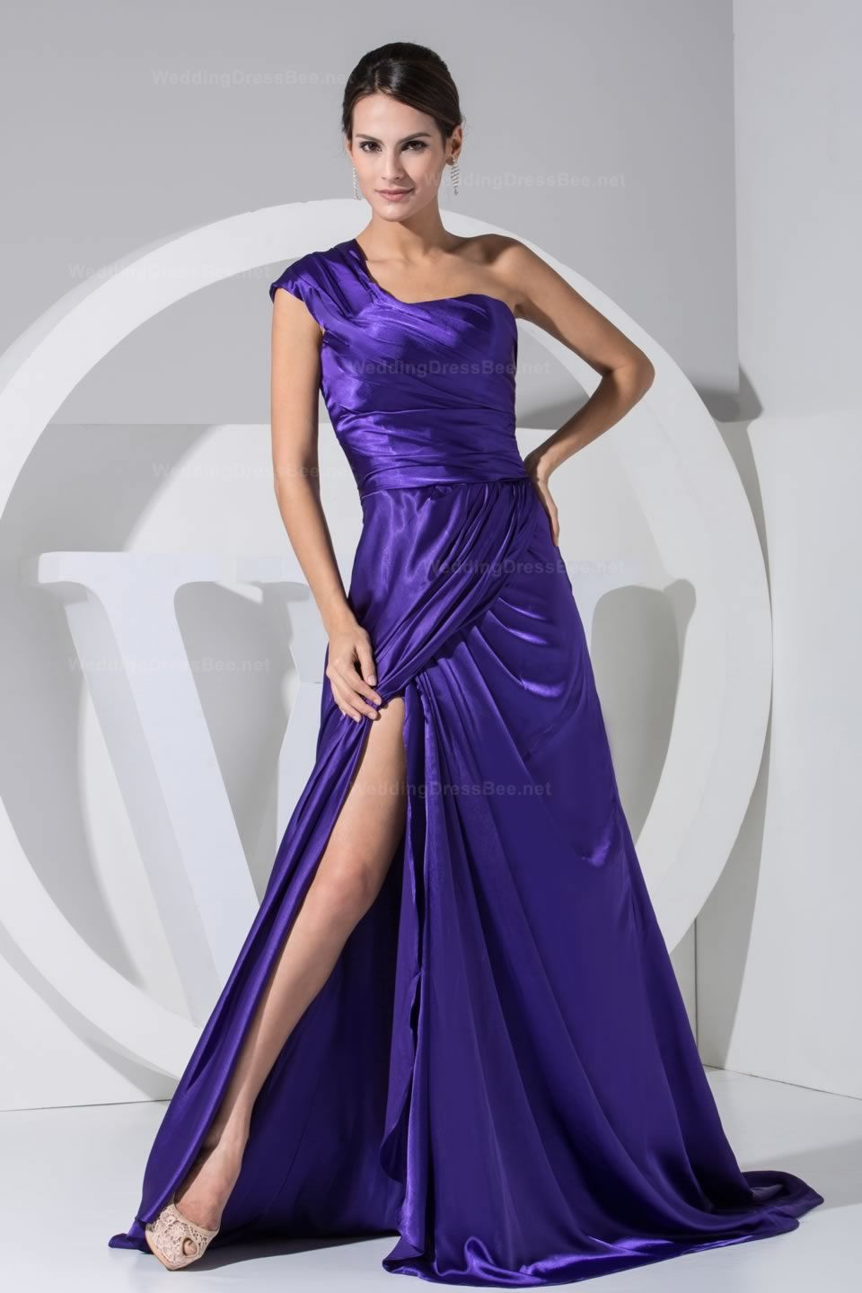 One shoulder a-line floor length elastic satin evening dress with ...
