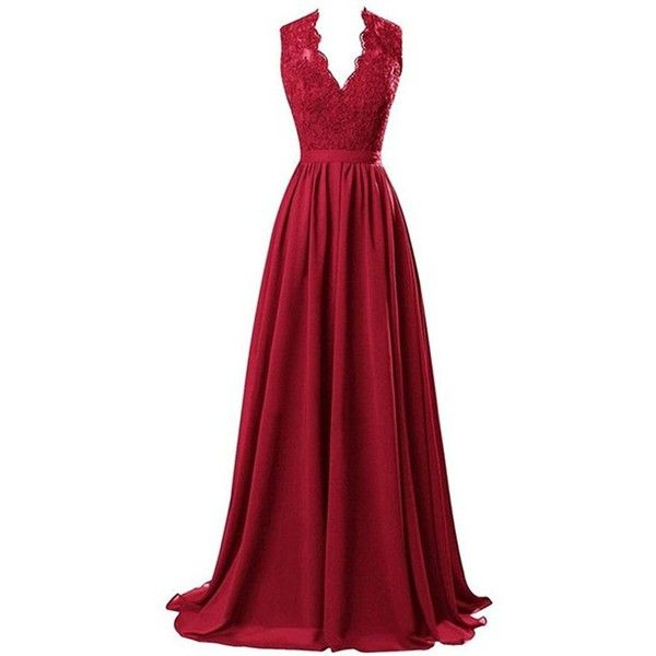b33cfd68180 Nina V-neck Long Chiffon open Back Bridal Prom Evening Dress Burgundy...  ( 65) ❤ liked on Polyvore featuring dresses and wedding dresses