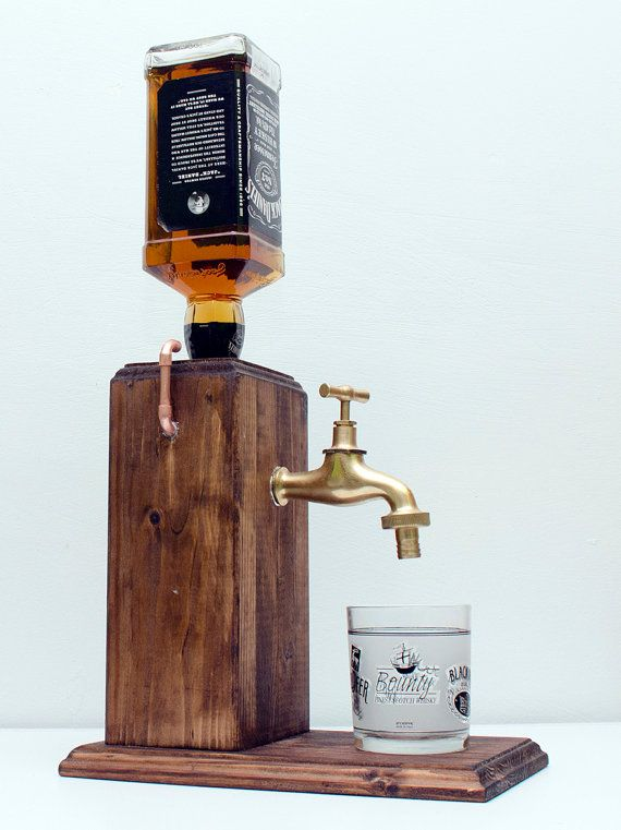 Handmade wooden alcohol dispenser whiskey by for Small diy projects for guys