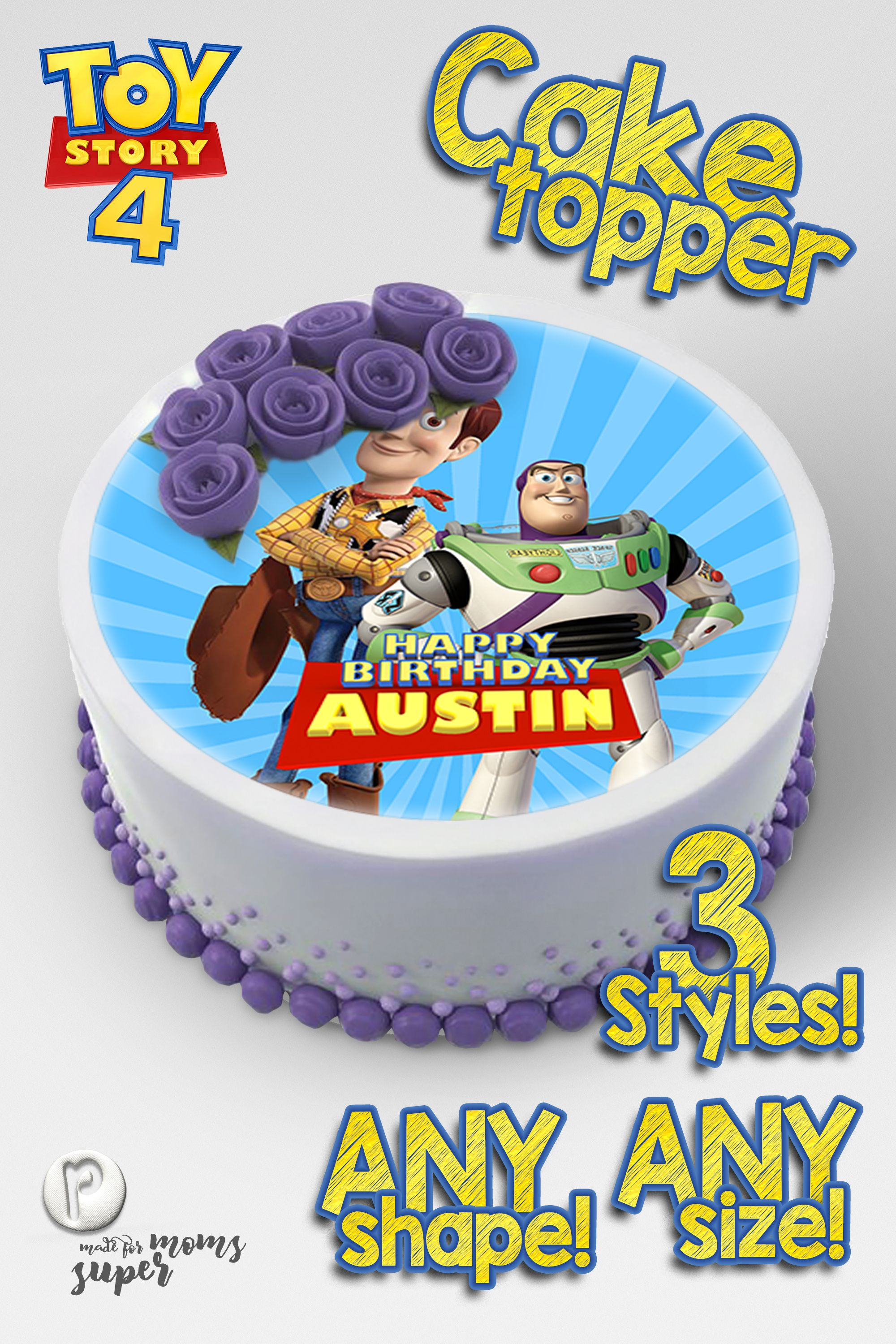Any age and can add name Personalised Toy story Cake Topper Decoration Birthday