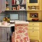 Give Your Kitchen a French Country Look   Midwest Living-Love the dove gray cabinet color and the distressed look
