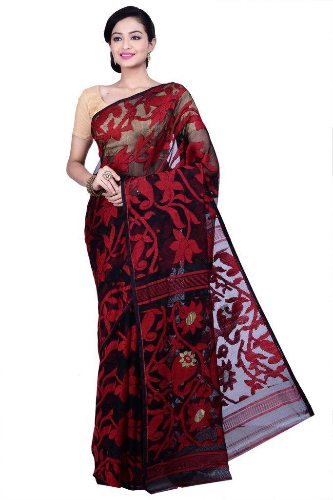 61dce79cfc Black & Red Jamdani Saree - beautiful handwoven #Jamdani #MuslinSilk #Saree  at www.shopbollywear.com (24 hrs #Sale)