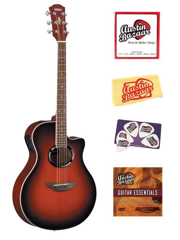 Yamaha Apx500 Acoustic Electric Guitar Stnd Bundle Dark Red Burst Yamaha Guitar Guitar Acoustic