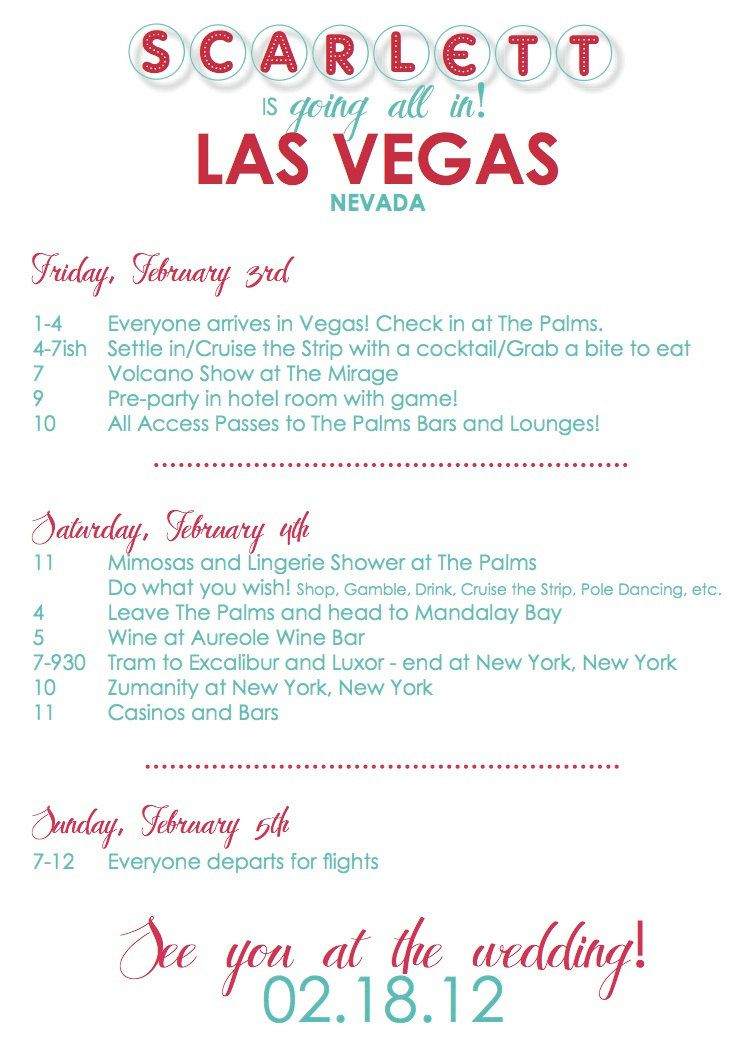 Custom Vegas Bachelorette Invitation/Itinerary by anniebpaperie ...