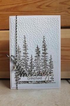 kerstkaart Stampin' Up! Merry Christmas bomen in sneeuw