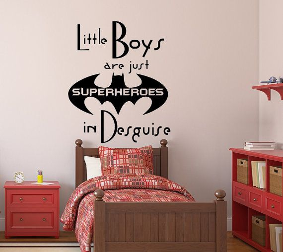 Little Boys Are Just Superheroes Wall Decals Quote Decal Kids - Superhero wall decals for boys