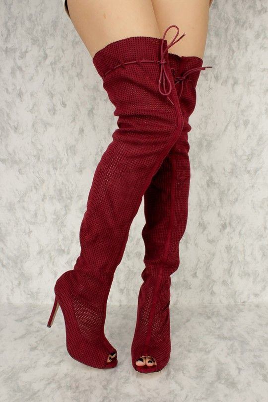 35d506112f3 Burgundy Perforated Cut Out Peep Toe Thigh High Heel Boots Faux ...
