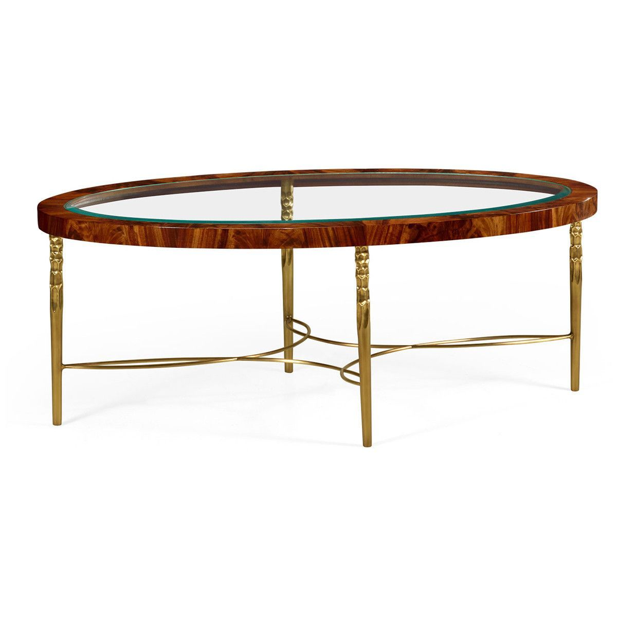 Runde Couchtische Jonathan Charles Curated Oval Coffee Table In Tropical Walnut