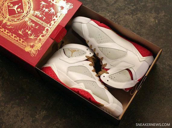sports shoes 1e5cd 520a2 Big Boys Shoe Air Jordan VII Retro Year Of The Rabbit Light Silver Metallic  Gold True Red White 459873 005