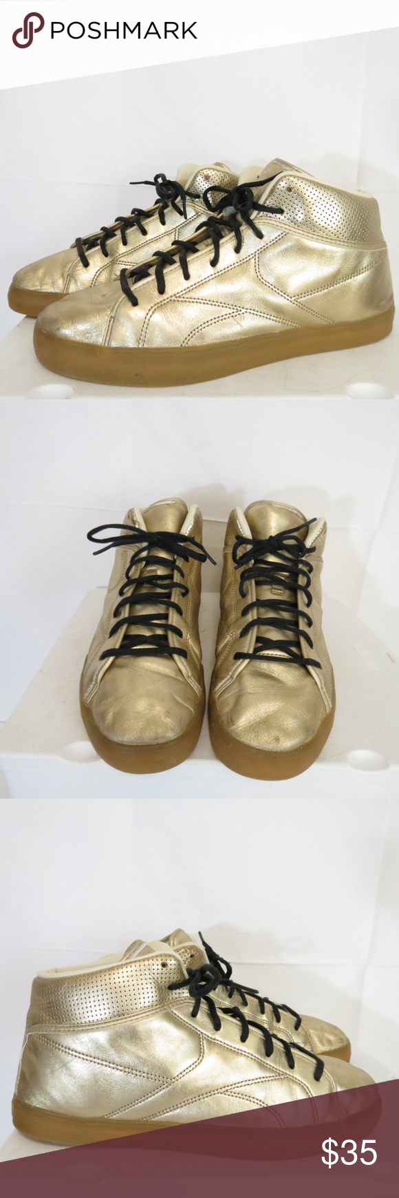 25a694f98e4f Reebok Men s 10.5 EU 44 T-Raww Gold High Top Reebok Men s 10.5 EU 44 T-Raww  Gold High Top Athletic Shoes(location ac cp) creasing please see photos  Reebok ...