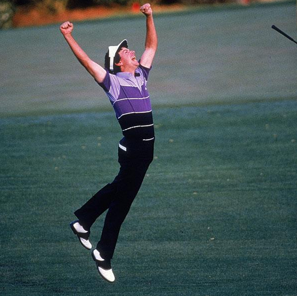 Larry Mize Chips In To Beat Greg Norman In A Playoff During The 1987 Masters Play Golf Greg Norman Hole In One