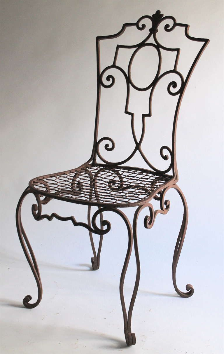 Lyre Back Black Wrought Iron Arm Chair With Swan Heads Feet