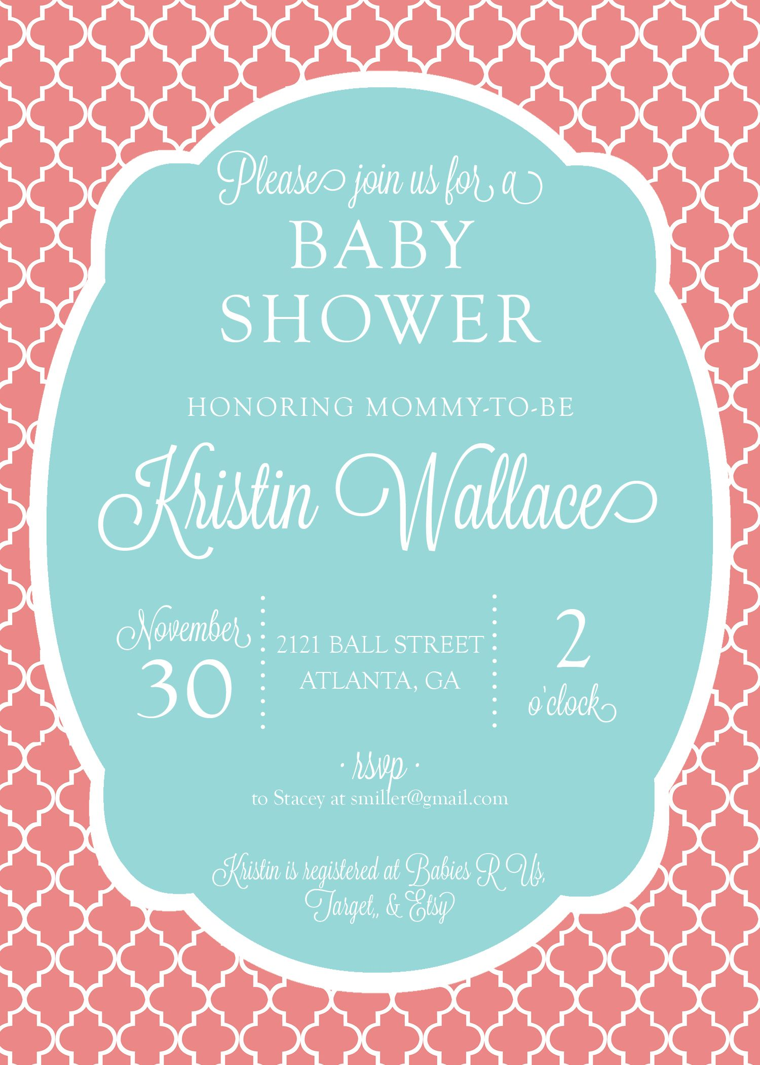 Coral & Teal Bridal or Baby Shower Invitation | Baby | Pinterest ...