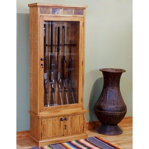 Amazon sedona gun cabinet w locks home kitchen sunny designs sedona gun cabinet with locks in rustic oak teraionfo