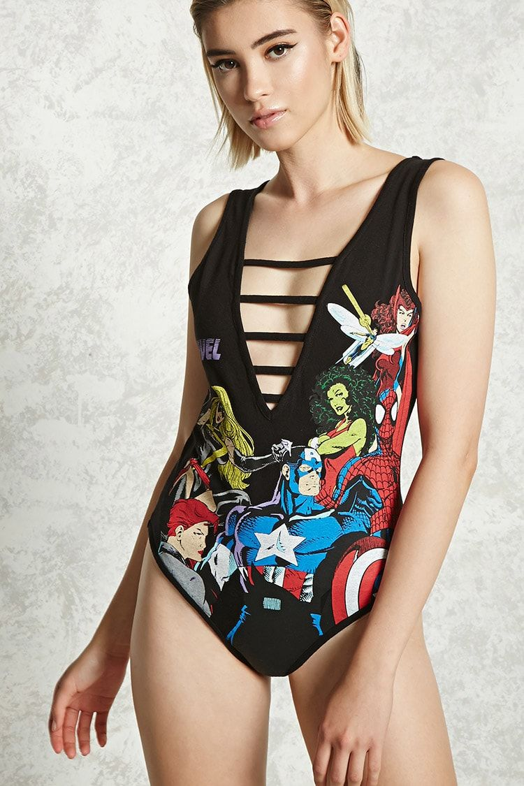 "A stretch-knit bodysuit featuring a front ""Marvel"" graphic with assorted fighting superheroes, a plunging caged V-neckline, a V-cut back, a sleeveless cut, and a pull-on design.<p>- Officially licensed product</p>"