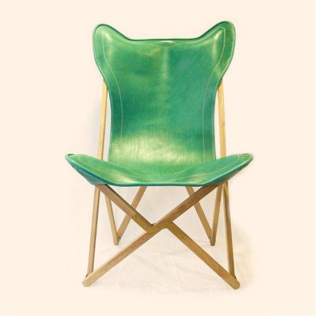 Sedie Pieghevoli In Cuoio.Sedia Pieghevole Tripolina In Cuoio Verde E Teak Design