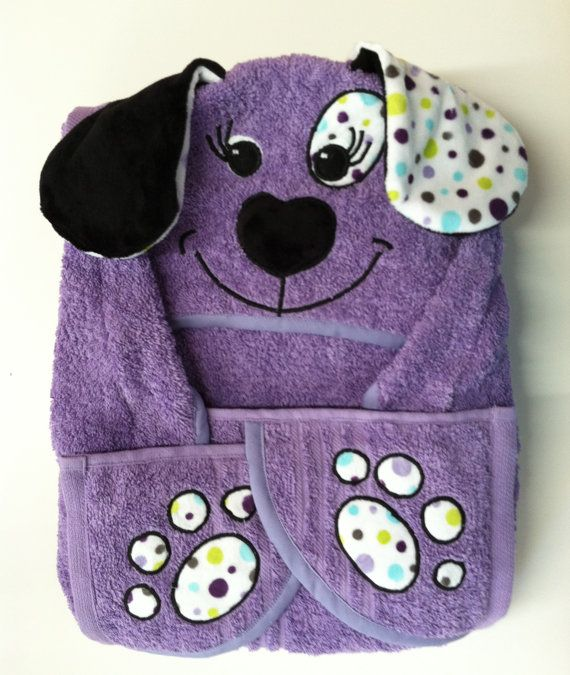 Girls Large Hooded Puppy Towel For Baby Toddler By Malloridesigns