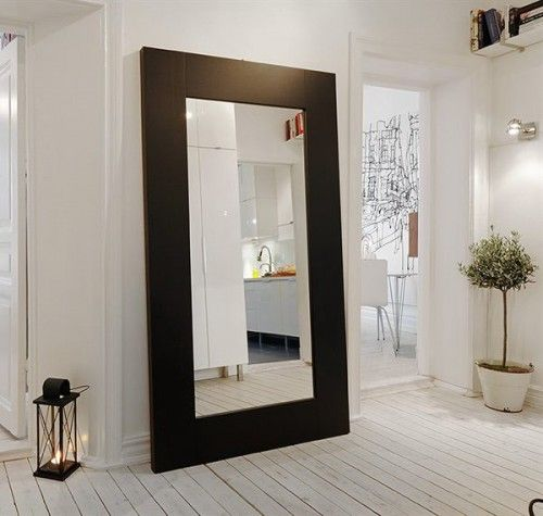 good idea, using a large mirror so you can check yourself out before you walk out with toilet paper on your shoe