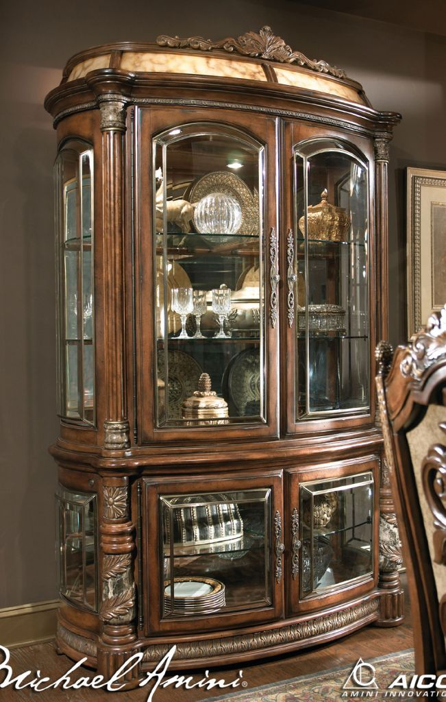 Valencia Carved Wood Traditional Bedroom Furniture Set 209000: Home Gallery Furniture For Curio Cabinets, Villa Valencia