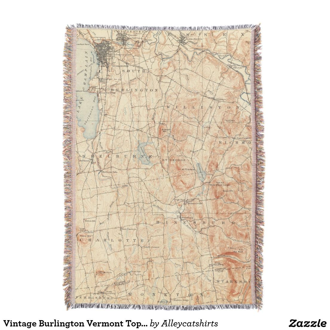 Vintage Burlington Vermont Topographic Map (1904) Throw Blanket ...